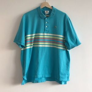 Lacoste men's 8 striped polo turquoise